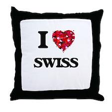 I love Swiss Throw Pillow