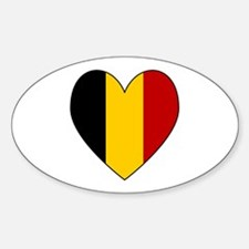Belgian Flag Heart Oval Decal