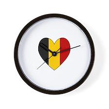 Belgian Flag Heart Wall Clock