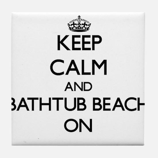 Keep calm and Bathtub Beach Florida O Tile Coaster