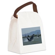 Humpback Whale Breaching by Winds Canvas Lunch Bag