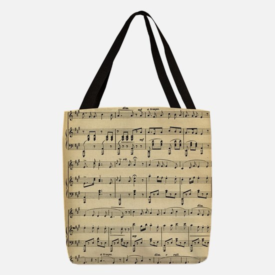 Antique Sheet Music Polyester Tote Bag