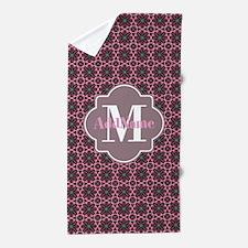 Pink Brown Pattern Custom Monogram Beach Towel