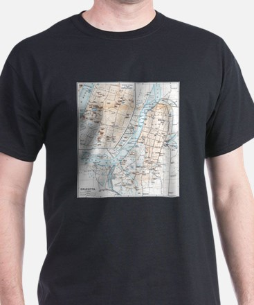 Vintage Map of Calcutta India (1914) T-Shirt