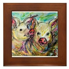piglets, pig pair Framed Tile