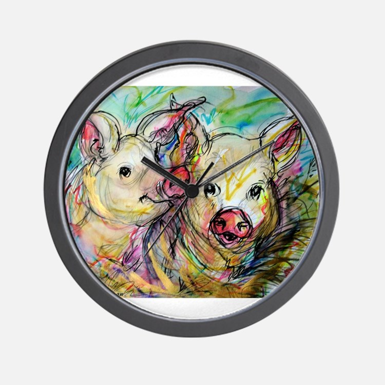 piglets, pig pair Wall Clock