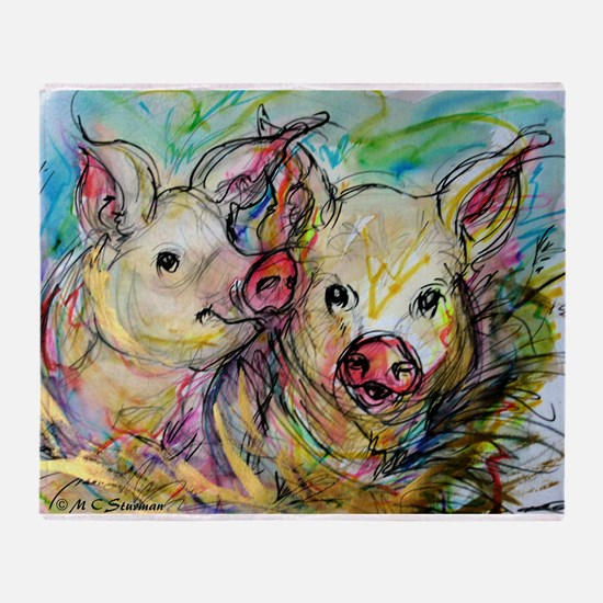 piglets, pig pair Throw Blanket