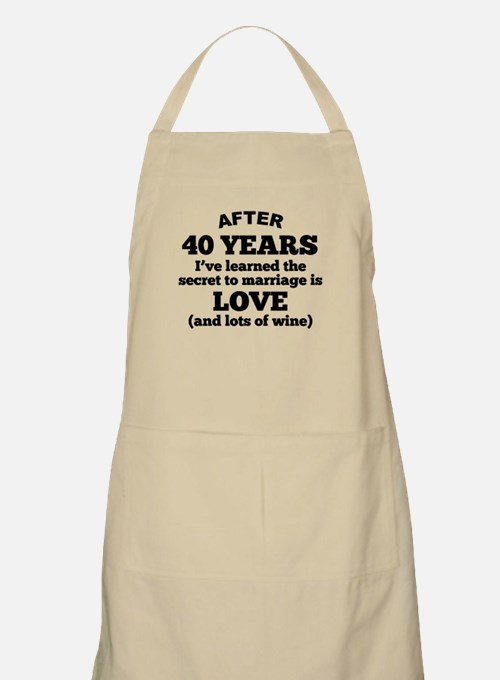 40 Years Of Love And Wine Apron