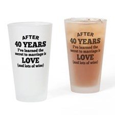 40 Years Of Love And Wine Drinking Glass