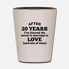 20 Years Of Love And Wine Shot Glass