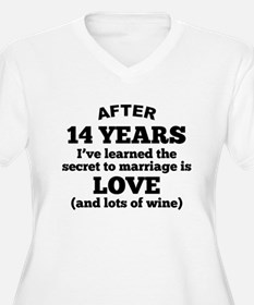 14 Years Of Love And Wine Plus Size T-Shirt