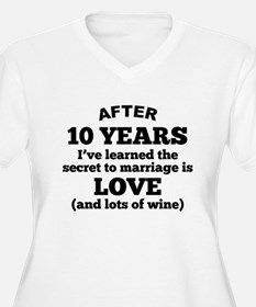 10 Years Of Love And Wine Plus Size T-Shirt