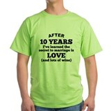 10 years of love Green T-Shirt