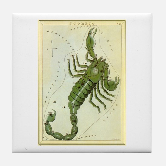 Vintage Celestial Zodiac, Scorpio Tile Coaster
