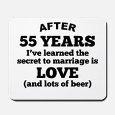 55 Years Of Love And Beer Mousepad