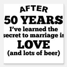 """50 Years Of Love And Beer Square Car Magnet 3"""" x 3"""