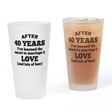 40 Years Of Love And Beer Drinking Glass