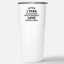 1 Year Of Love And Beer Travel Mug