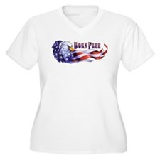 Born Free Bald Eagle And USA Fla Plus Size T-Shirt