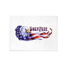 Born Free Bald Eagle And USA Flag 5'x7'Area Rug