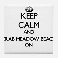 Keep calm and Crab Meadow Beach New Y Tile Coaster