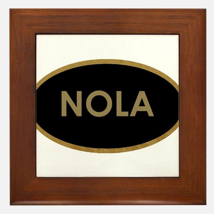 NOLA BLACK AND GOLD Framed Tile