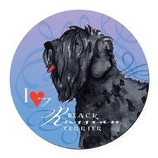 Black Russian Terrier Round Car Magnet