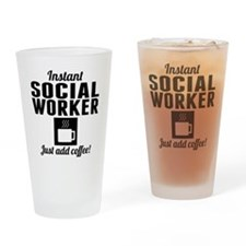 Instant Social Worker Just Add Coffee Drinking Gla