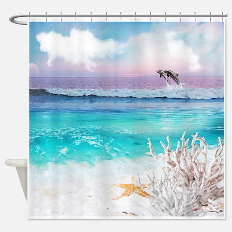Seashore Shower Curtains Seashore Fabric Shower Curtain