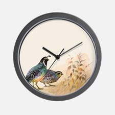 Watercolor Desert Gambel's Quail Wall Clock