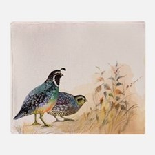 Watercolor Desert Gambel's Quail Throw Blanket
