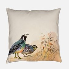 Watercolor Desert Gambel's Quail Everyday Pillow