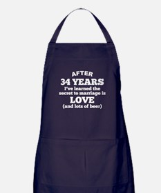 34 Years Of Love And Beer Apron (dark)