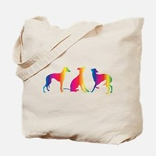 Three little colourful whippets Tote Bag