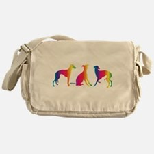Three little colourful whippets Messenger Bag