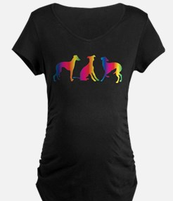 Three little colourful whippets Maternity T-Shirt