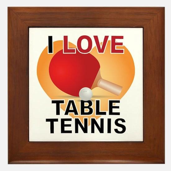 Love Table Tennis Framed Tile