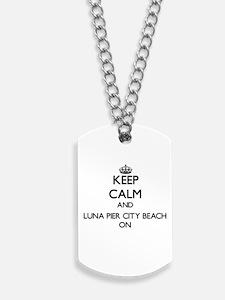 Keep calm and Luna Pier City Beach Michig Dog Tags