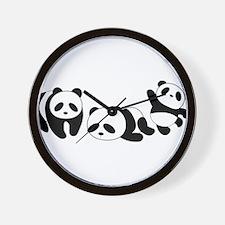 Three little giant pandas Wall Clock