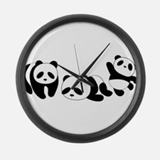 Three little giant pandas Large Wall Clock