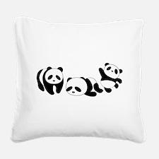Three little giant pandas Square Canvas Pillow
