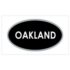 Oakland Black Oval Canvas Art