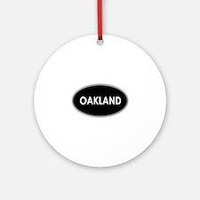 Oakland Black Oval Ornament (Round)