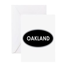 Oakland Black Oval Greeting Cards