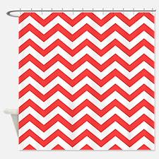 Coral Pink Chevron Pattern Shower Curtain