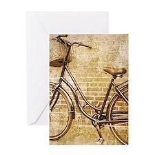 romantic street vintage bike Greeting Cards