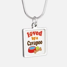 Cavapoo Dog Lover Silver Square Necklace