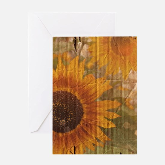 rustic western country sunflower Greeting Cards