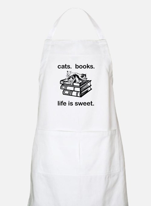 CATS.  BOOKS.  LIFE IS SWEET Apron