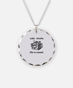 CATS.  BOOKS.  LIFE IS SWEET Necklace